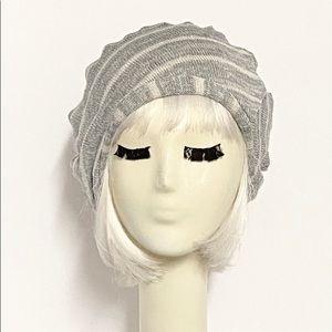 Striped grey sweater knit beret hat